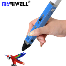 2017 MYRIWELL 3D Ручка 3-я Генерация СВЕТОДИОДНЫЙ Экран 5V2A USB Данных линии Caneta 3D Ручки 1.75 мм ABS/ПЛА Творческой Ручка 3D Живопись Pen