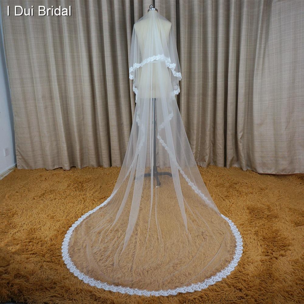 Alencon Eyelash Lace 3 meter lång brudslöjor bröllop hår - Bröllopstillbehör - Foto 6