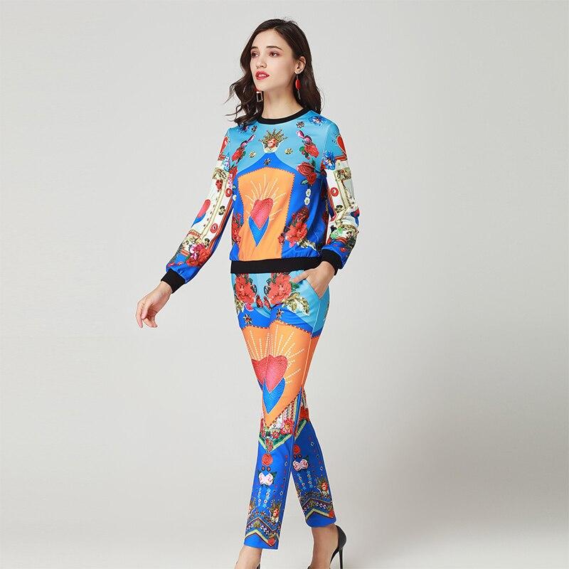 Haute Pleine Printemps 2019 O Costumes Mode Ensembles Manches Imprimer Femelle Pièces Pull Pantalon Qualité neck Femmes Chaude 2 Mince 0wvFxdw