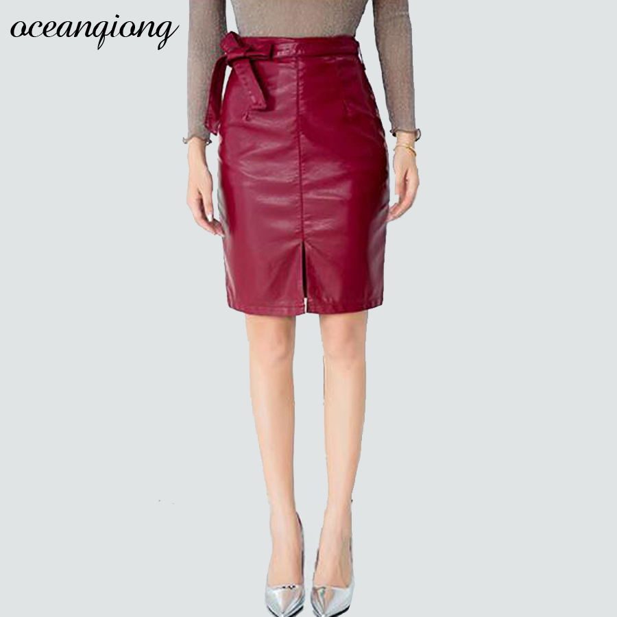pencil skirts leather winter autumn 2017 high waist