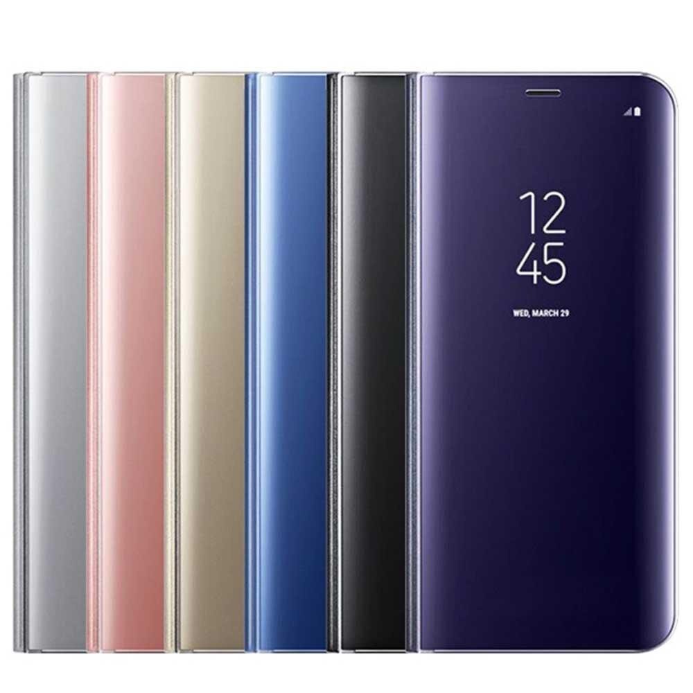 Cubierta del espejo claro ver Flip teléfono caso para Samsung Galaxy S6 S7 borde S8 más Nota 5 Nota 8 con chip inteligente