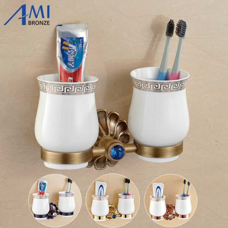 12-Petals Series Antique/Gold/Black/Rose Brass Cup & Tumbler Toothbrush Holder 2 Cups holder  Bathroom Accessories