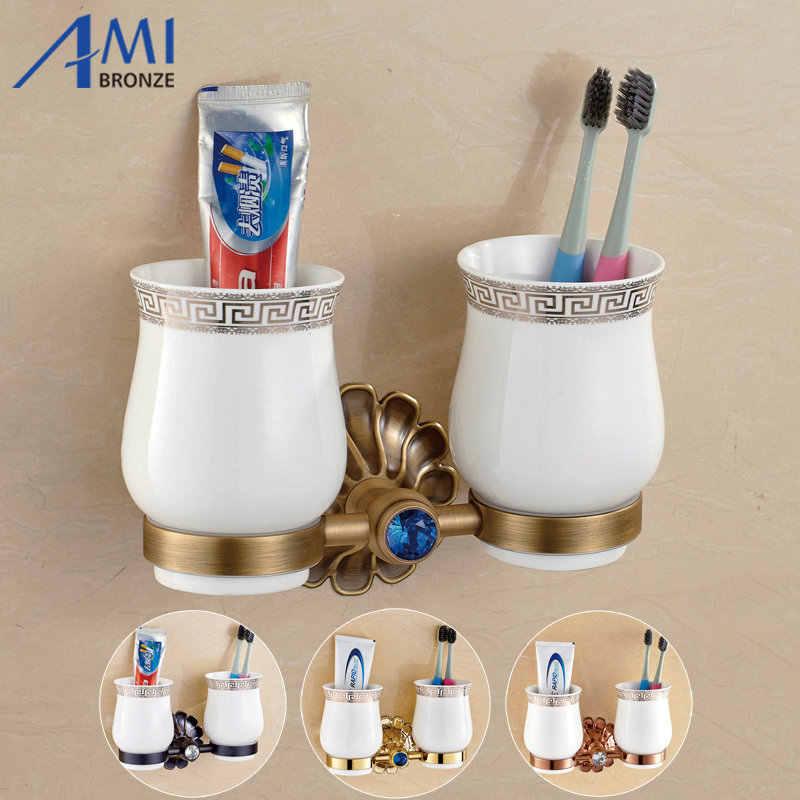 סדרת 12-Petals עתיק/זהב/שחור/רוז פליז אביזרי אמבטיה מחזיק גביע לוליין & 2 כוסות בעל מברשת שיניים