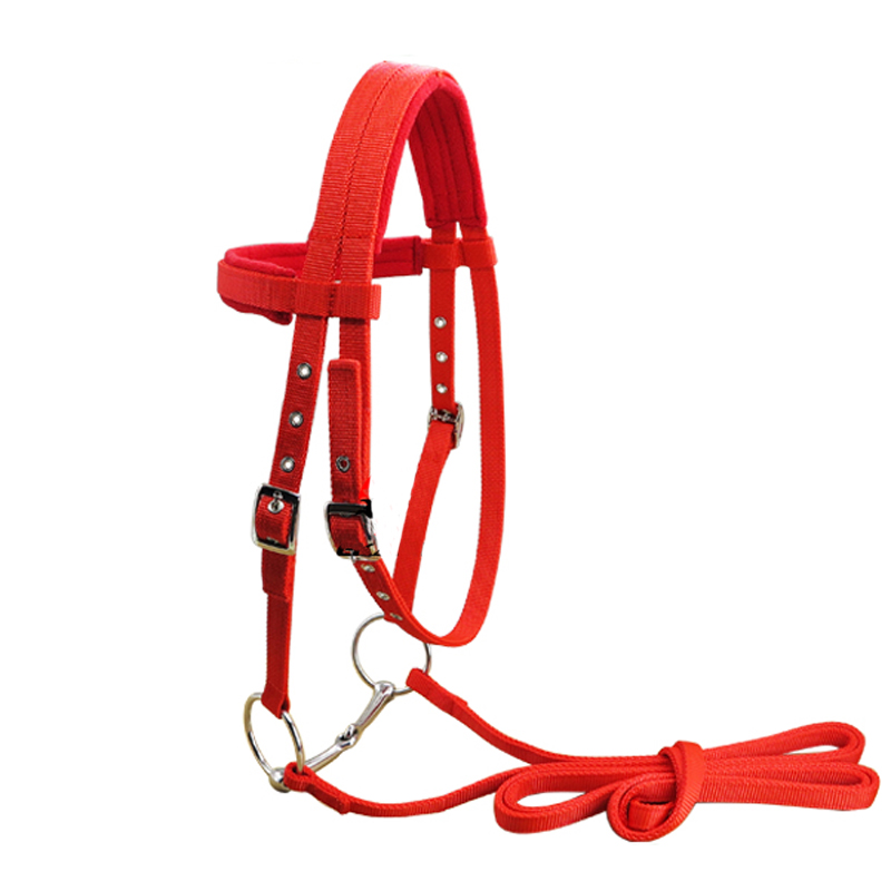 Durable Red Horse Riding Accessories Equestrian Supplies Full Horse Rope Bridle Removable Rein Belt Equipment For Horse