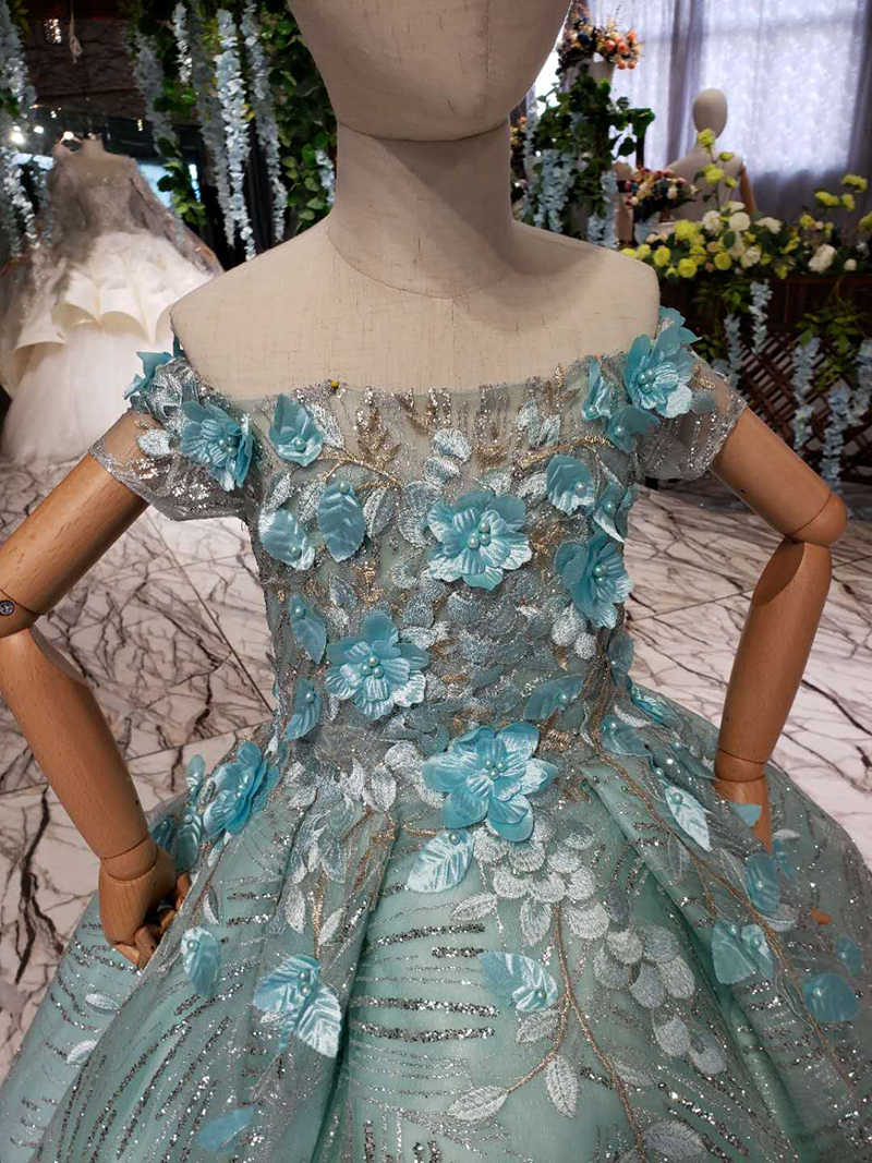 LSS518t Bloemen Jurk Eerste Communie Meisje Off De Schouder Boothals 3D Bloemen Lace Up Back Vestidos De Primera Comunion 2020