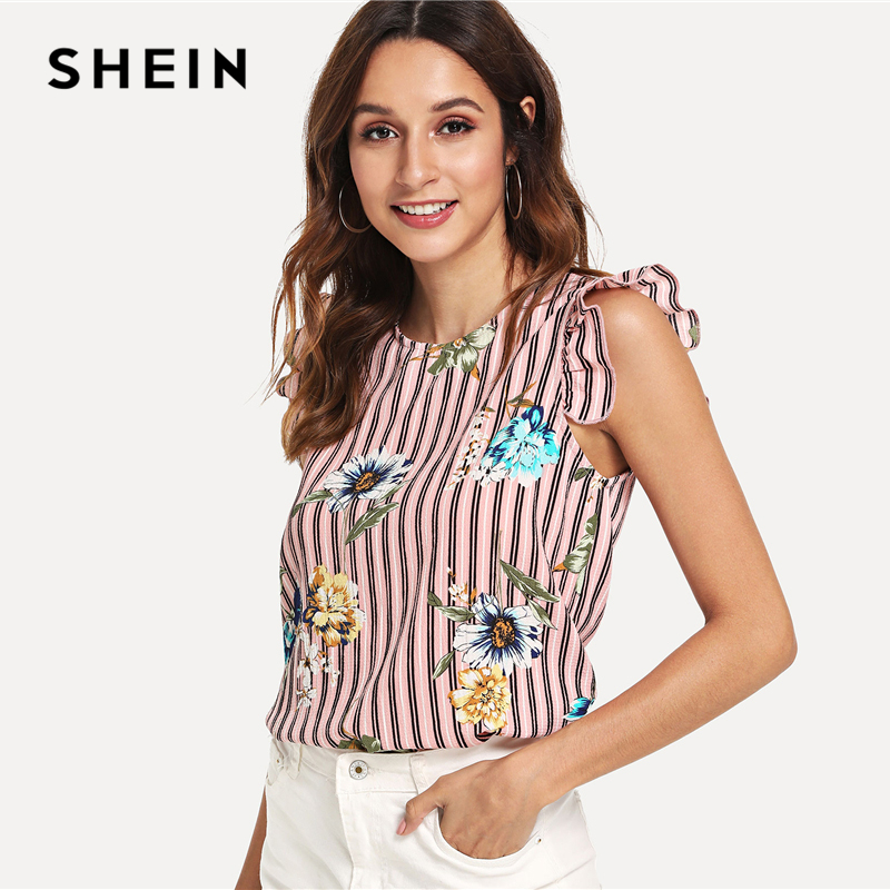 SHEIN Multicolor Vacation Bohe Bohemian Beach Floral Print Vertical Striped  Ruffle Sleeve Blouse Summer Women Casual Shirt Top-in Blouses   Shirts from  ... 7eba0d21e