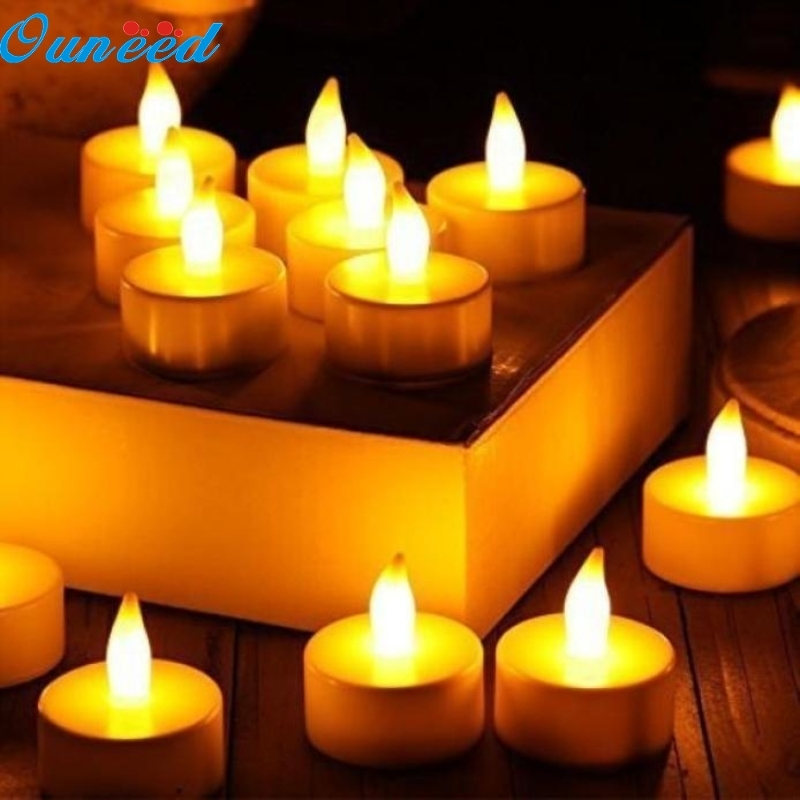 Ouneed Happy Home 12pc LED Tea Light Candles Realistic Battery-Powered Flameless Candles
