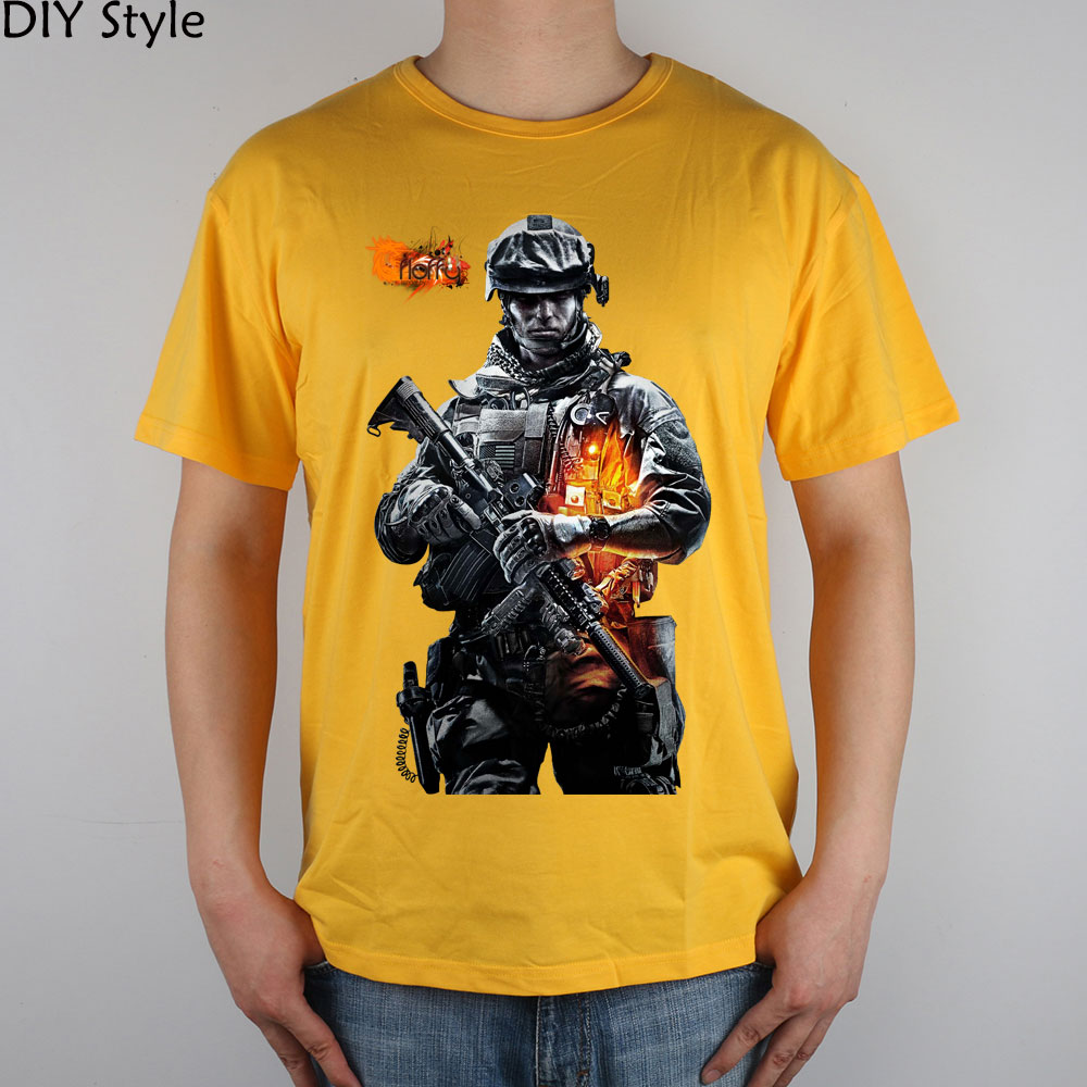 BATTLEFIELD powerful military engine game around T-shirt cotton Lycra top high quality Fashion Brand t shirt for men image