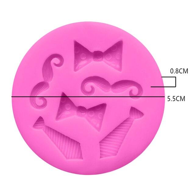3D Mini nœud papillon barbe   Accessoires pour barbe bonbons chocolat argile Silicone, moule Fondant gâteau outils de décoration