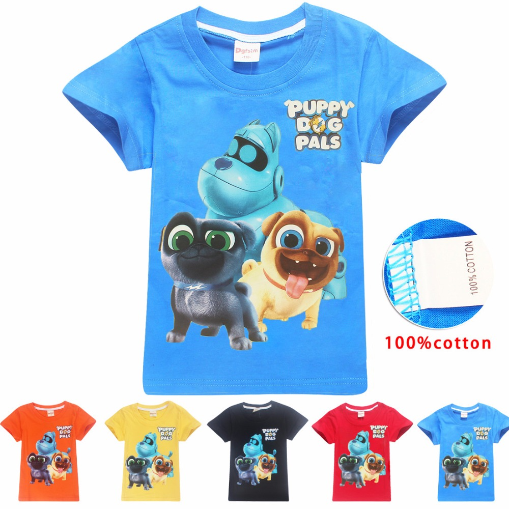 2018 Brand Puppy Dog Pals Baby Girl Summer Funny Cartoon T Shirt Boys Shirts Girls Top Printed Tshirt Boy T-shirt Kids Clothes