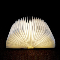 Innovative USB Rechargeable LED Foldable Wooden Book Shape Desk Lamp Nightlight Booklight For Home Decoration Warm