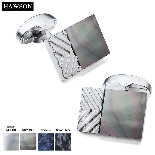 HAWSON Retail Trendy Rectangle With Different Material Stone Cuff Links For Men Dress Shirt Suit Wedding