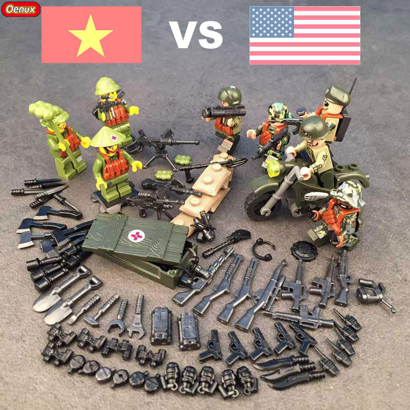 New Arrival 8PCS Vietnam War Vietnam Army VS US Army Military Building Block Set WW2 Military Soldiers Figures Brick Toy For Kid neema nitume financing higher education in tanzania