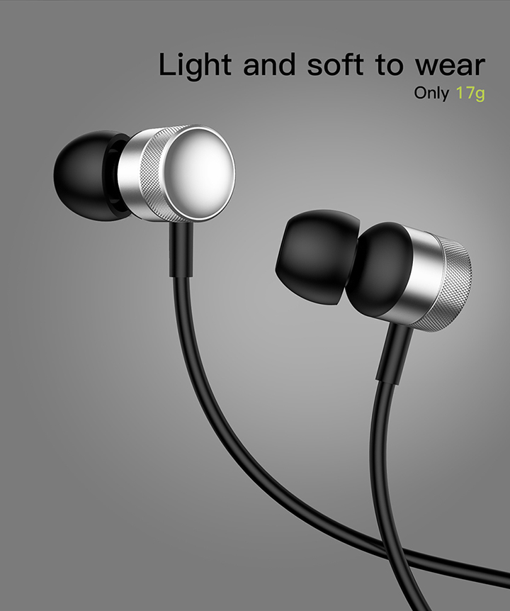 Foto from the front In-Ear earphones with microphone. In-Ear earphones with microphone for iphone