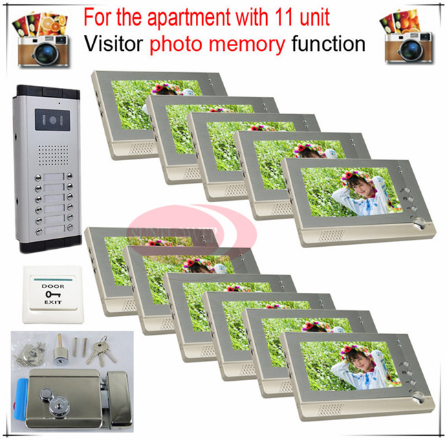 11v11 Take Photos Color Video Door Phone Intercom Doorbell System  For  Eleven Units Apartment  + Electronic control lock