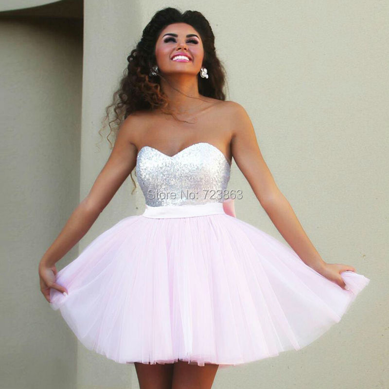 Offre spéciale rose bonbon courte robe de bal 2018 chérie hors épaule Sexy dos nu grand arc robe de retour robes de soirée robe de gala