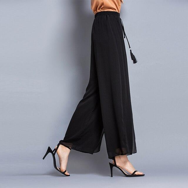 100% Silk High Waist Double Layer Trousers Solid colour Casual High Waist Wide Leg Pants Women Summer