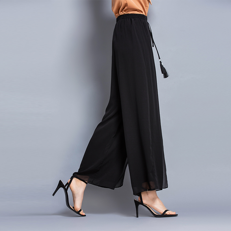 100% Silk High Waist Double Layer Trousers Solid colour Casual High Waist   Wide     Leg     Pants   Women Summer