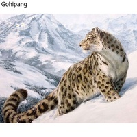 Unframed Snow Leopard Animals DIY Digital Painting By Numbers Kits Drawing Modern Wall Art Linens Painting