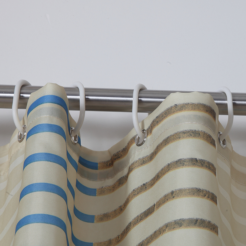 blue stripe shower Curtain fabrics Curtains in the bathroom ...