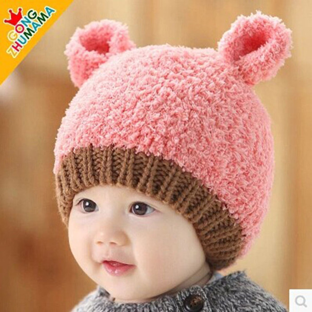 New! Baby Kids Autumn Winter Warm Cotton Beanie Hat Toddler Infant Girls Boys  Caps Cute Baby Cartoon bear ear Beanies 1pc 01371b80db7c