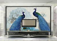 3D Photo Wallpaper Custom 3d Wall Murals Wallpaper Peacock Blue Retro Floral Painting Rich Backdrop Background