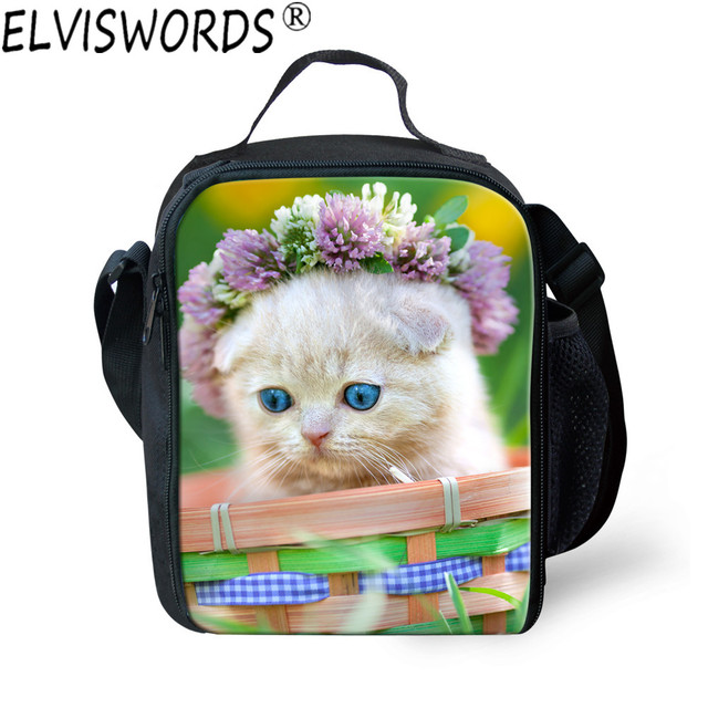 1e722b394c1b ELVISWORDS Children Portable Insulated Lunch Bags Kids School Picnic  Thermal Bag Students Cute Cats Food Bag Launch Box Bag-in Lunch Bags from  Luggage ...