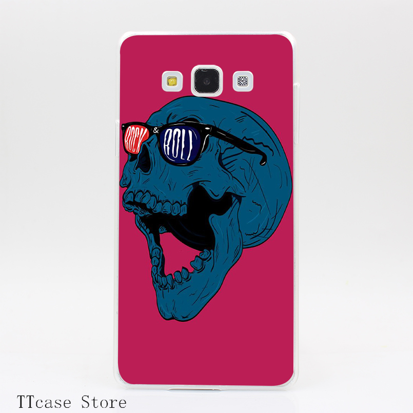 2948CA Rock and Roll Skull Transparent Hard Cover Case for Galaxy A3 A5 A7 A8 Note 2 3 4 5 J5 J7 Grand 2 & Prime