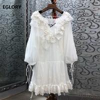 White Purple Dress 2019 Summer Fashion Party Evening Vestidos Women Lantern Sleeve Ruffle Patchwork Silk Cotton Embroidery Dress