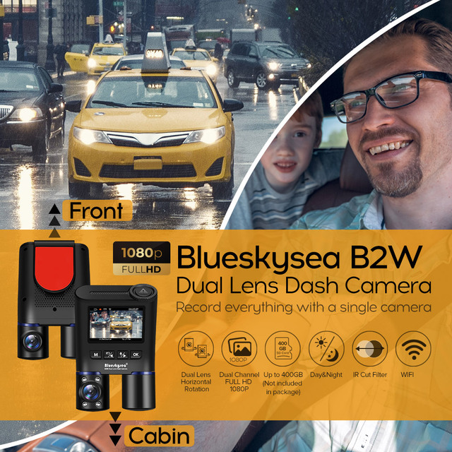 Blueskysea B2W Dual Lens WIFI DashCam for Uber Lyft Taxi Night Vision Car Camera Full HD1080P DVR Recorder Rear View Dash Camera 1