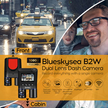 Blueskysea B2W WIFI Dash Cam Dual Lens for Uber Lyft Taxi Car Camera DVR Full HD1080P Video Recorder 32GB GPS camara para auto