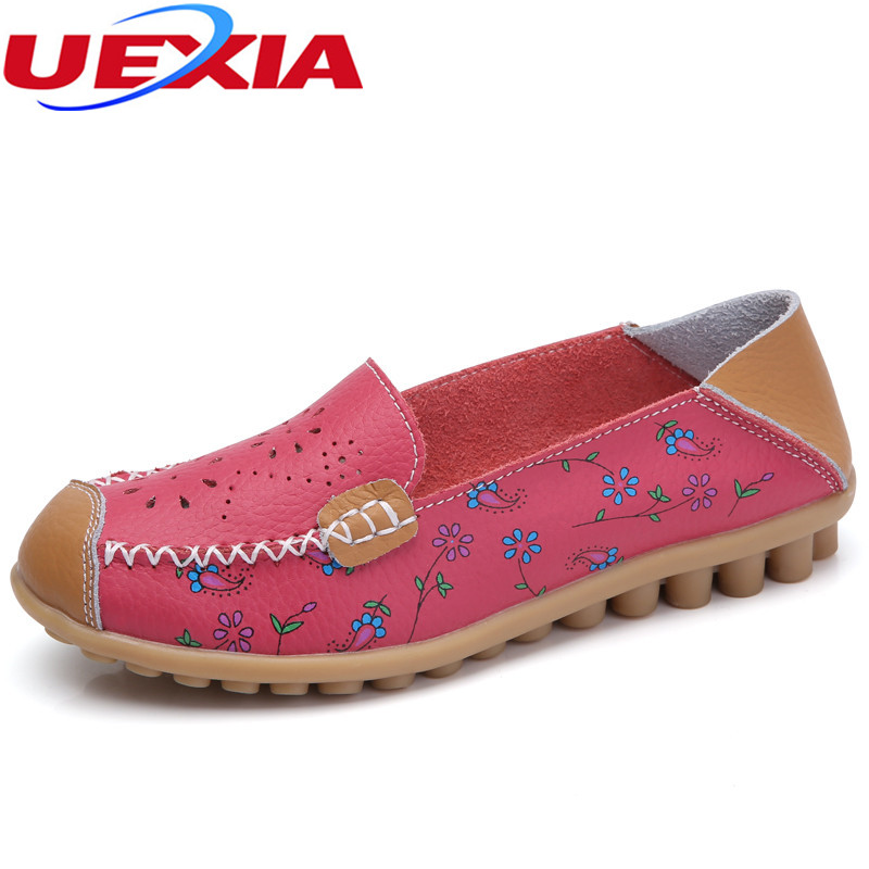 New Women Leather Shoes Moccasins Mother Loafers Soft Leisure Flats Female Driving Casual Footwear Slip on Ballet Ladies Flower uexia walking spring summer leather hand sewn men shoes casual footwear slip on designer luxury flats driving loafers moccasins