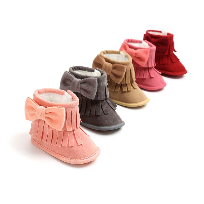 Toddler Boots Shoes Anti-Slip Soft-Soled Infant Girl Boy Winter Kids Warm Bow Solid Fringe