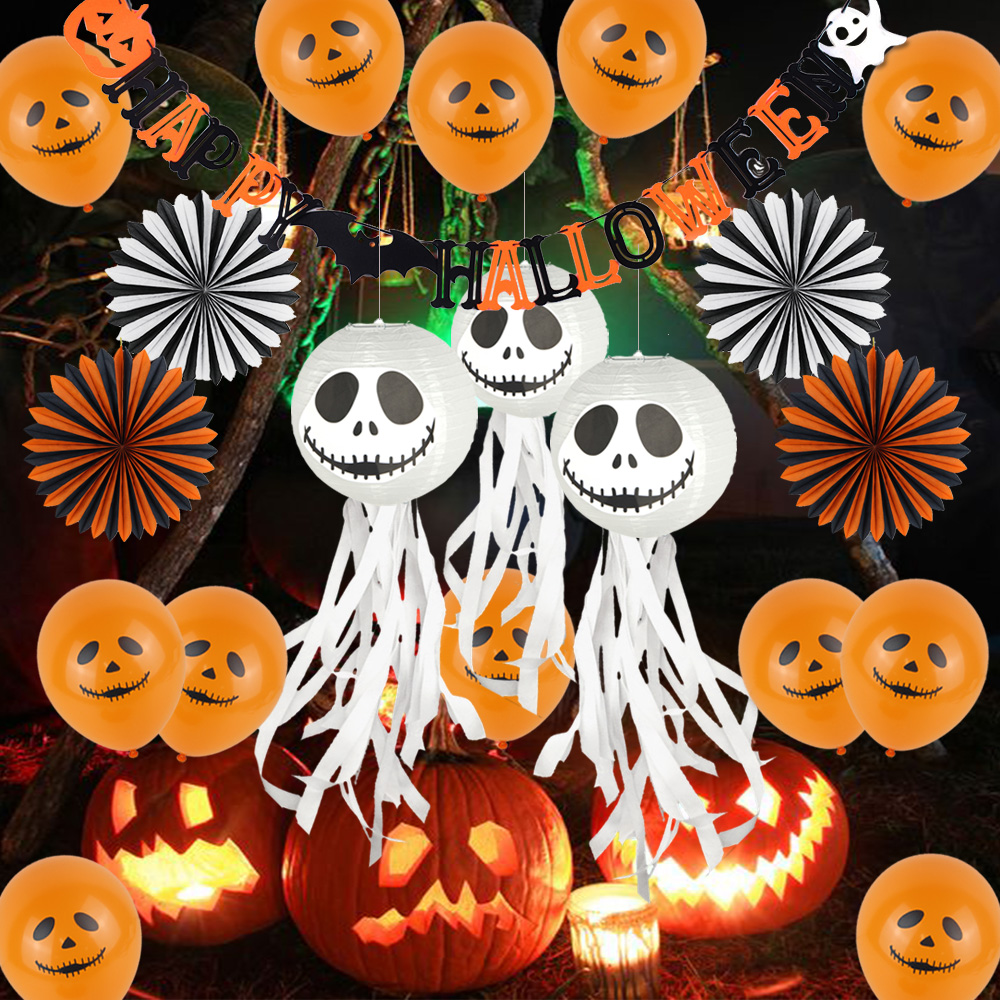 29pcs DIY Halloween Decoration Kit Backdrop Spooky Balloons Party Banner Fans Grimace Lantern Trick or Treat Party Decor in Party DIY Decorations from Home Garden