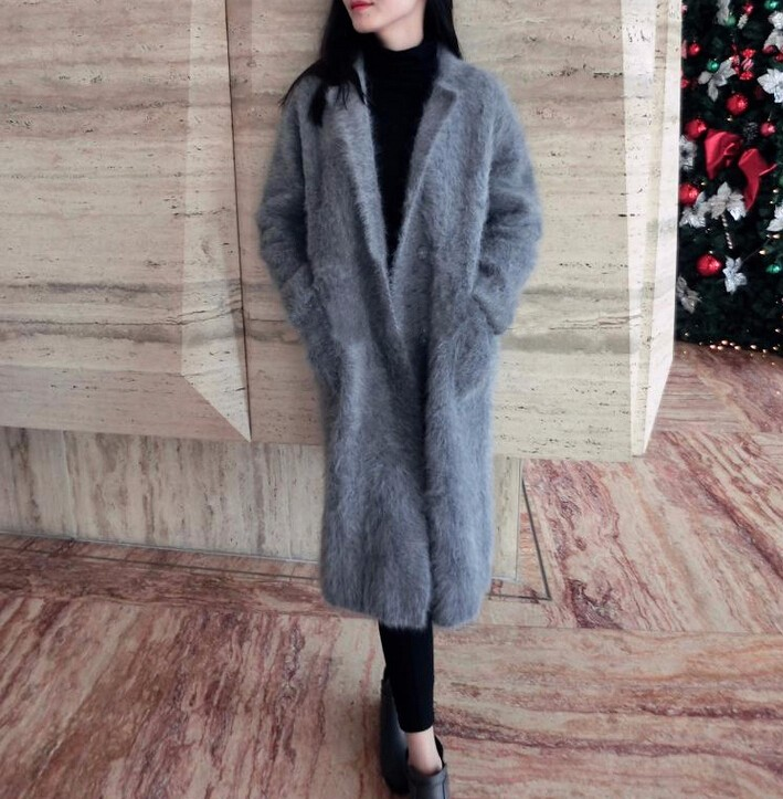 Mink Sweater: Real Mink Cashmere Long Coat Genuine Mink Cashmere Sweater
