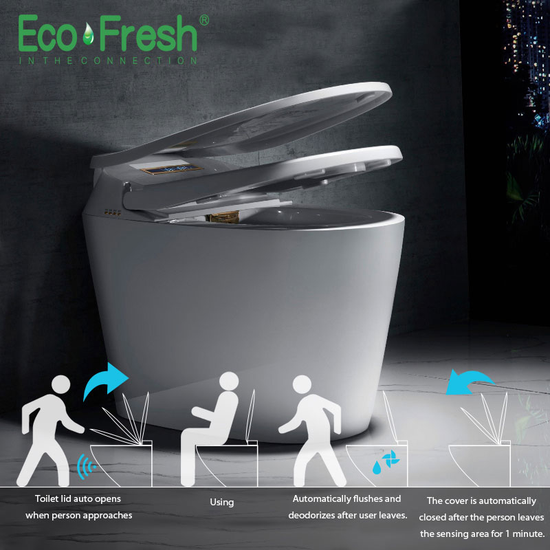 Ecofresh Smart toilet Auto toilet lid and seat flip integrated automatic intelligent toilet cover wash dry massage image