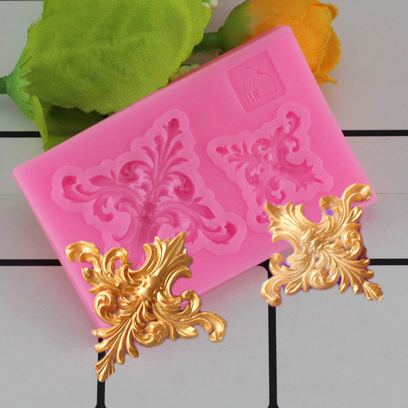 Mujiang 3D Baroque Scrolls Corner Silicone Mold Flower Vine Fondant Cake Decorating Tools Cupcake Chocolate Gumpaste Clay Molds