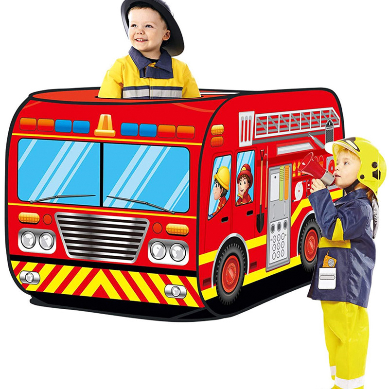 Game House Play Tent Fire Truck Police Bus Foldable Pop Up Toy Playhouse Cloth Children's Toy Tent Firefighting Model House Bus