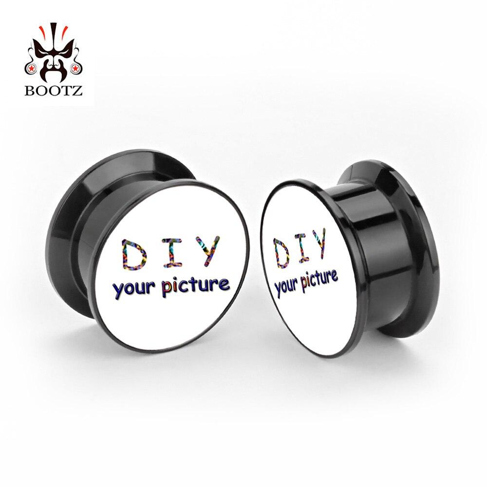 Bouchons d'oreilles personnalisés noir vis acrylique tunnels piercing corps bijoux oreille jauges livraison gratuite-in Bijoux de corps from Bijoux et Accessoires    1