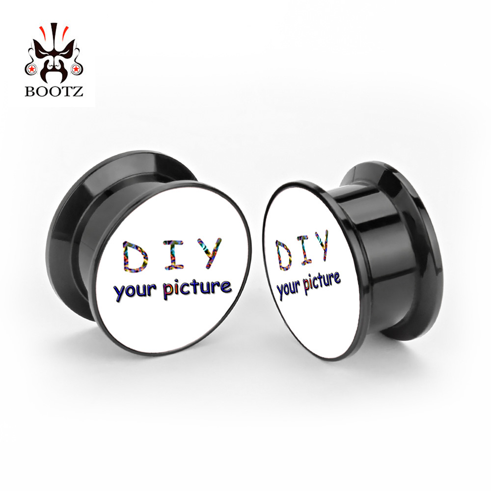 Custom ear ปลั๊กสีดำสกรูอะคริลิคอุโมงค์เจาะเครื่องประดับหูฟังจัดส่งฟรี-ใน เครื่องประดับร่างกาย จาก อัญมณีและเครื่องประดับ บน   1