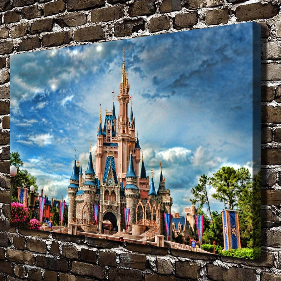 h2061 beautiful castle blue sky tree scenery hd canvas print home decoration living room bedroom wall pictures art painting in painting calligraphy from - Blue Castle Decor