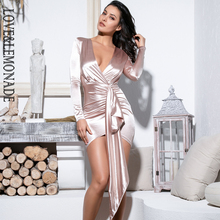LOVE&LEMONADE Sexy V Neck Shirring Streamer Decoration Bodycon Party Dress LM81639 nude