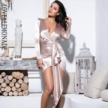 Женское вечернее платье LOVE & LEMONADE, облегающее платье телесного цвета с V образным вырезом, украшенное лентами, модель LM81639