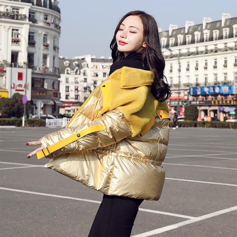 Winter Jacket Women 90% White Duck   Down     Coats   2019 New Arrival Glossy Patch Lamb Wool Female Parka Tied Waist Womens   Down   Jacket