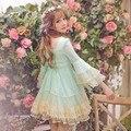 Принцесса sweet lolita dress Candy rain 2016 новая весна оригинальный супер fairy труба рукава кружева принцесса dress C16AB6025