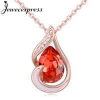 Jewecexpress Happy tear Crystal Pendant Necklace
