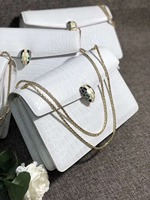 Luxury quality 100% real genuine crocodile skin women shouder bag Himalaya white crocodile skin metal strap cross body lady bag