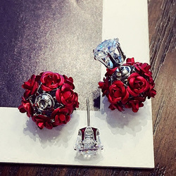 MOONROCY Drop Shipping CZ Crystal Earrings Rose Red Purple Flower Two Sides Earrings for Women Gift Drop Shipping Wholesale