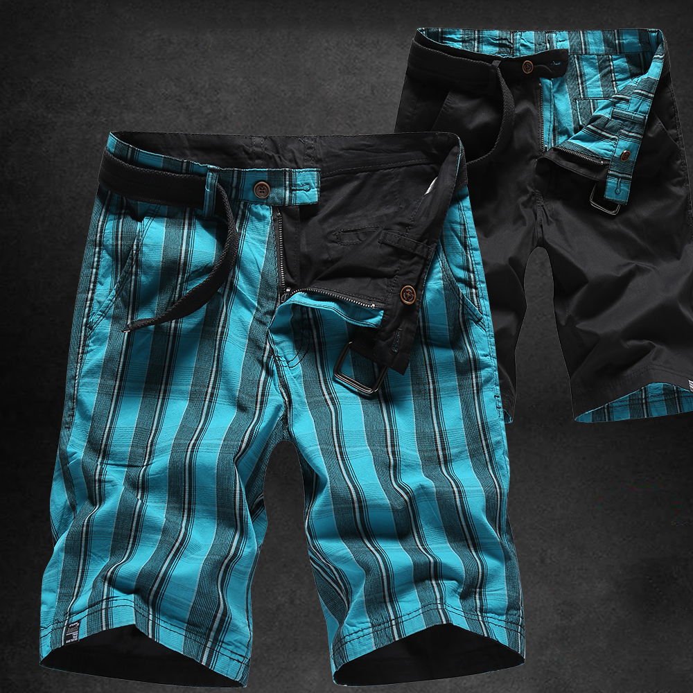 Newest Plaid Reversible Shorts Men Casual Cargo Shorts Jogger Fashion Brand Clothing Mens Beach Trousers Masculina Breathable