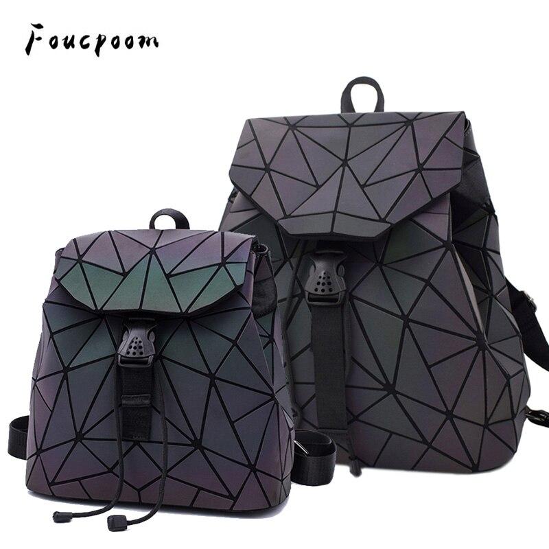 Moda Mulheres Mochilas Ombro Bolsa Feminina Menina Diário Backpack Escola Geometria Luminosa Dobrável Saco Saco de Viagem Escola Sacos de Holograma